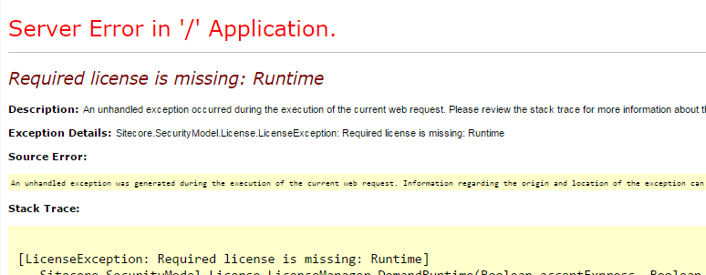 Required license is missing: Runtime